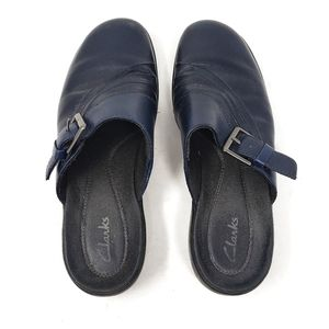Clarks | Blue Leather Buckle Slip On Clogs Mules 8